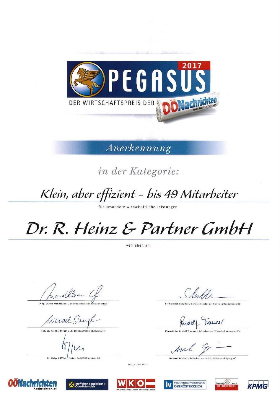 Pegasus Zertifikat 2017