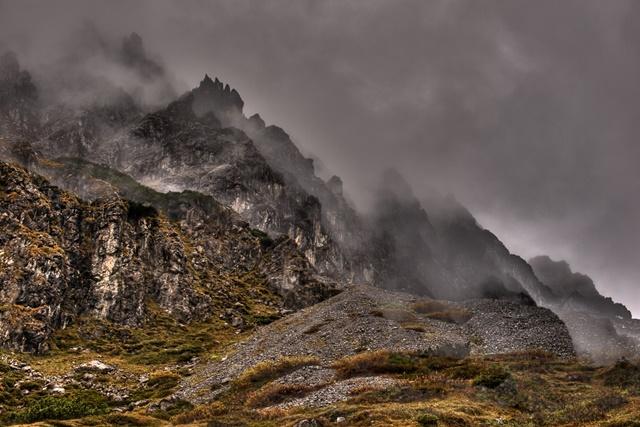 Besuch bei Monika in Vorarlberg. Ausflug zum Lünersee. Aussicht beim Aufstieg.